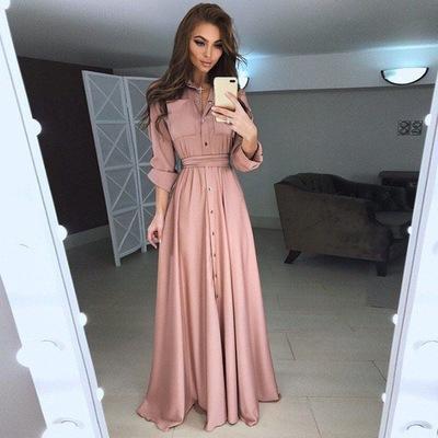 Beste Maxi-jurk casual knopen lange mouw - BeautifulLady WF-58